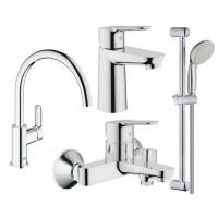 Набор смесителей для ванны и кухни 4 в 1 Hansgrohe Bau Loop 123218K