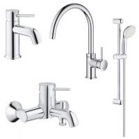 Комплект смесителей для ванны и кухни 4 в 1 Grohe BauClassic 123869K