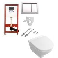 Комплект 5 в 1 унитаз подвесной Villeroy&Boch O.novo DirectFlush 5688HR01 с комплектом TECEbase kit 4в1 9400006