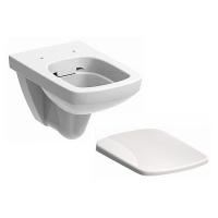 Набор керамики 2в1 Kolo Nova Pro M39018000 подвесной унитаз прямоугольный Rimfree в комплекте с дюропластовым сиденьем soft-close